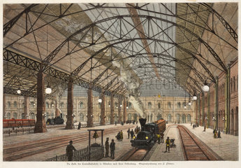 Interior of a railway station  Munich  Germany  19th century.