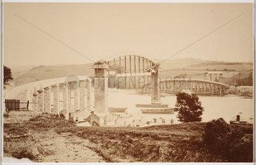 Royal Albert Bridge at Saltash  under construction in August 1858.