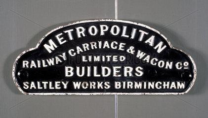 Wagon solebar plate  'Metropolitan Railway Co Ltd.