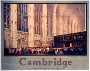 'Cambridge: King's College Chapel'  LNER poster  1954.