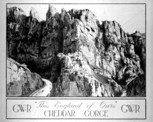 'Cheddar Gorge' GWR poster  1923-1947.