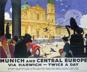'Munich and Central Europe'  LNER poster  1929.