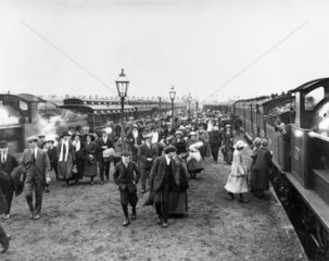 Miners at Talbot Road station  Blackpool  21 June 1919
