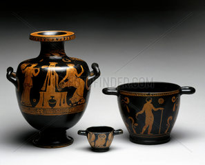 Large red hydria  or water carrier  Apulia  South Italy  c 450-300 BC.