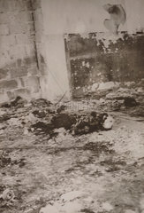 Burnt body of a synagogue watchman  Tiberias  1939.