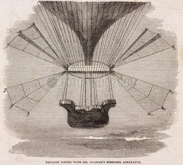 'Balloon Fitted with Mr Graham's Steering Apparatus'  c 1850.