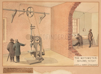 Barlow's patent 'motormeter' - lever & tappet attachment  19th century.