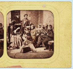 School lesson  c 1860 .