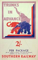 'Trunks in Advance'  SR poster  1934.