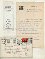 Letter delivered by the first trans-Atlantic flight  1919.