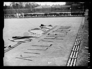Vandalised bowling green with fascist slogan  1938.