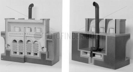 Model of Siemens regenerative furnace for glass melting.
