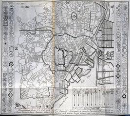 Map of Edo (present-day Tokyo)  Japan  c 1690.