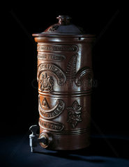 Patent moulded carbon water filter  late 19th-early 20th century.