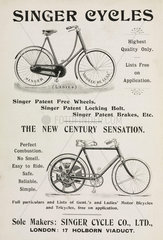 Advertisement for Singer bicycles and motor cycles  1901.