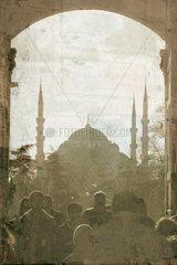 The Sultan Ahmet Mosque seen through the portal of the Seraglio  c 2004.