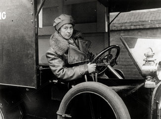 Member of First Aid Nursing Yeomanry (FANYs) in an ambulance  1914-1918.