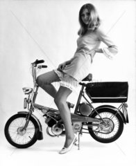 Model on a Raleigh bicycle  April 1967.