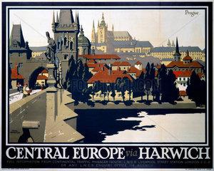 'Central Europe via Harwich'  LNER poster  1923-1947.