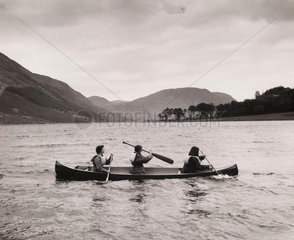 Canoeing on Buttermere on a girls' Outward Bound Course  1954