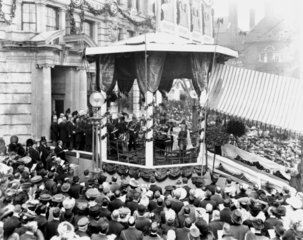 King Edward VII opening a 'Hearts of Oak Benefit Society' building  1906.