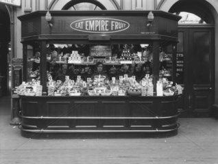 Empire fruit stall at Paddington Station  London  15 July 1927.