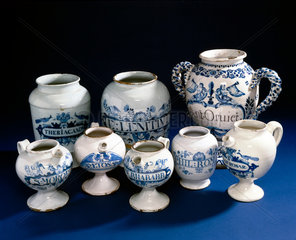 Four syrup jars and four pharmacy jars  18th century.