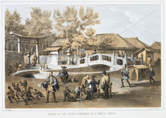 'Bridge of Cut Stone  and Entrance to a Temple  Simoda'  c 1853-1854.
