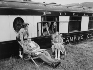 Pullman camping coach  Betws-y-Coed  Wales  28 July 1960.