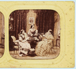 Four women sewing or reading  c 1860 .