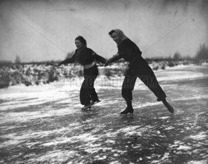 Women ice skaters  20 January 1938.