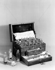 Faraday's chemical chest  c 1800s.