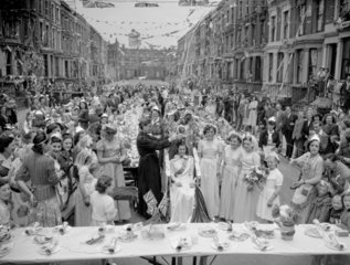 Coronation party street scene  London  1953.