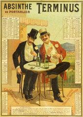 Calendar advertising Absinthe Terminus  1894.