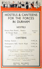 'Hostels & Canteens for the Forces in Durham'   poster  1939-1945.