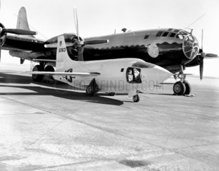 X-1-2 on Ramp with Boeing B-29  California  USA  1 January 1949.