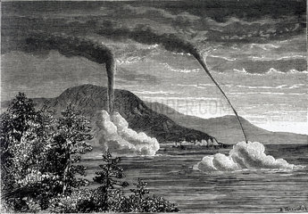 Tornadoes formed at sea  seen from Toulon  France  28th February 1881.