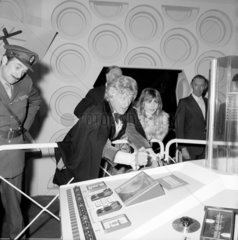 Jon Pertwee with Katy Manning and Nicholas Courtney  December 1972.