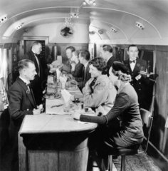 Passengers seated at counter in British Railways Buffet Carriage  1951.