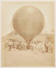 A balloon in a desert setting  1885-1890.
