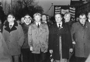 Arthur Scargill at NGA demonstration  Warrington  14 December 1983.