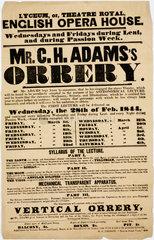 'Mr C H Adams's Orrery'  handbill  London  1844.