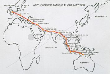 Amy Johnson's flight route  May 1930.