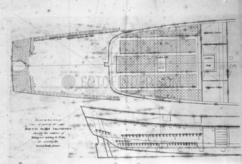 Deck plan of 'The Bounty'  c 1780s. In 1787
