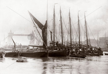 Boats on the Thames at Tower Bridge  London  c 1890s.