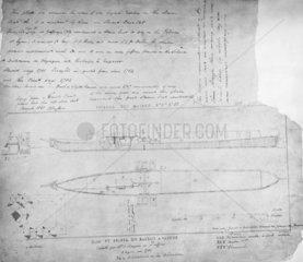 'Pyroscaphe'  Jouffry's steamboat  1783.