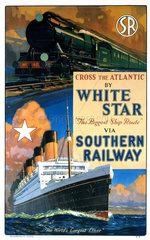 'Cross the Atlantic by White Star'  SR poster  c 1926.