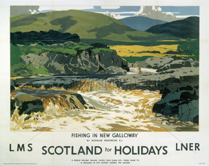'Fishing in New Galloway'  LMS/LNER poster  1923-1947.