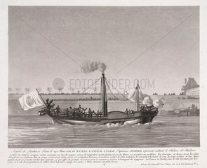 Arrival of the paddle steamer 'Elise' in Paris  29 March 1816.