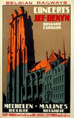 'Concerts'  Belgian Railways poster  c 1930s.
